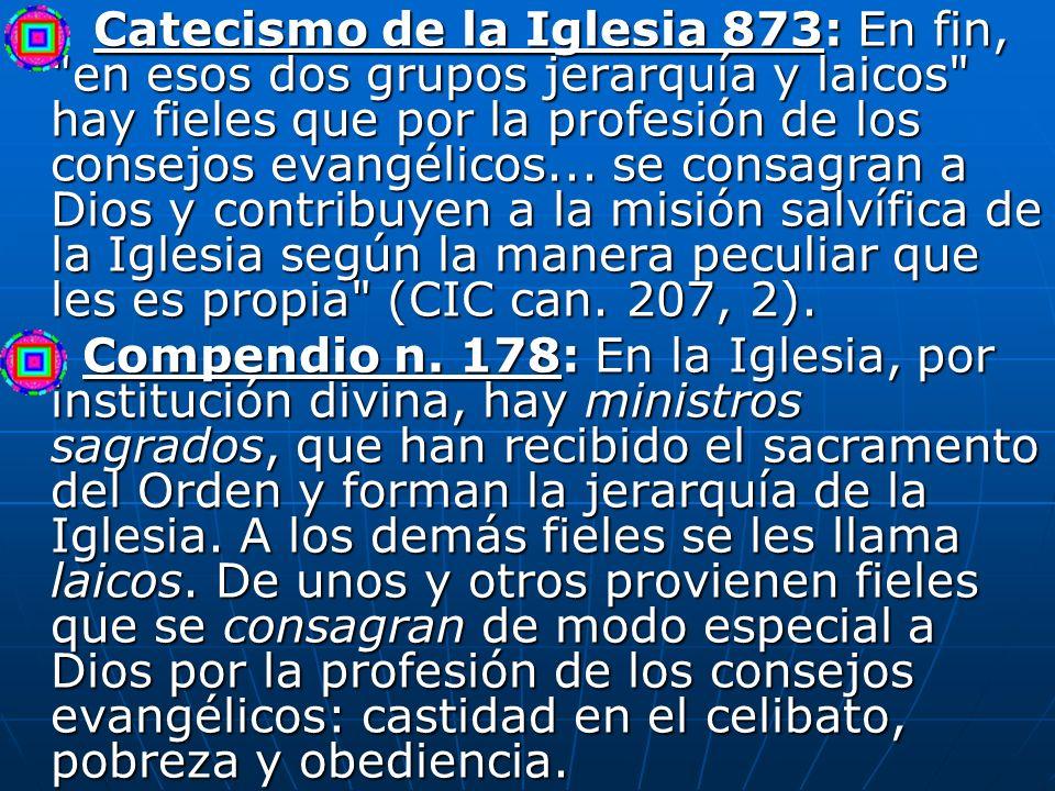 Catecismo de la Iglesia 873: En fin, en esos dos grupos jerarquía y laicos hay fieles que por la profesión de los consejos evangélicos... se consagran a Dios y contribuyen a la misión salvífica de la Iglesia según la manera peculiar que les es propia (CIC can. 207, 2).