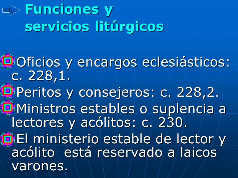 Funciones y servicios litúrgicos