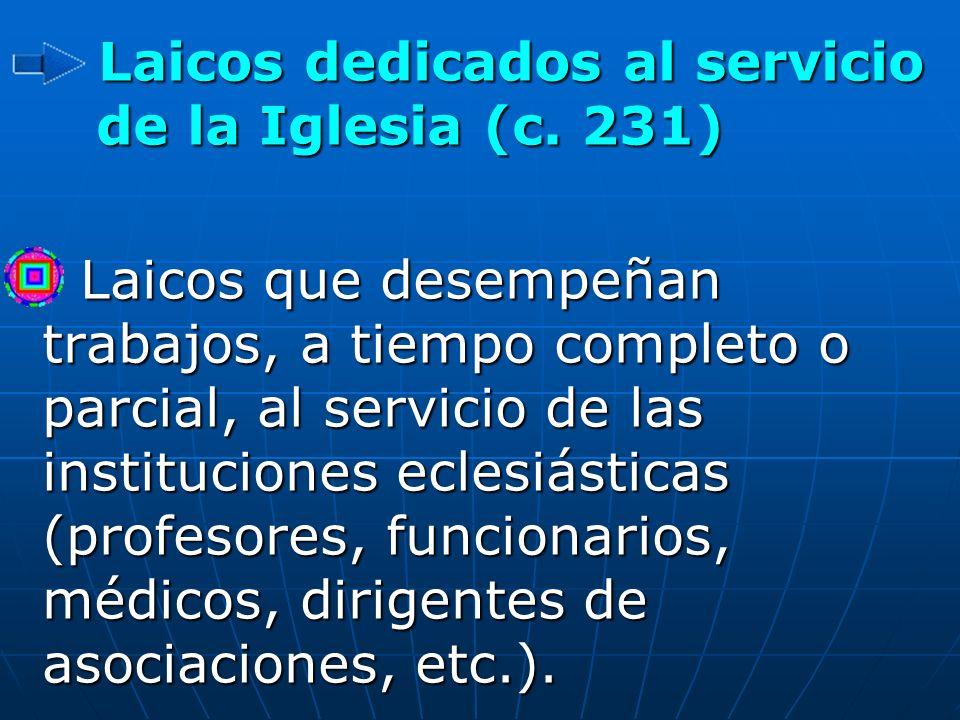 Laicos dedicados al servicio de la Iglesia (c. 231)