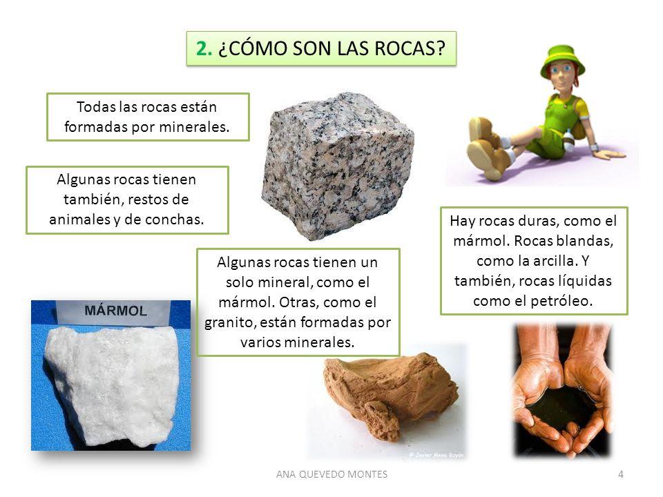 2. ¿CÓMO SON LAS ROCAS Todas las rocas están formadas por minerales.