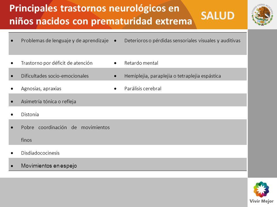 Principales trastornos neurológicos en niños nacidos con prematuridad extrema