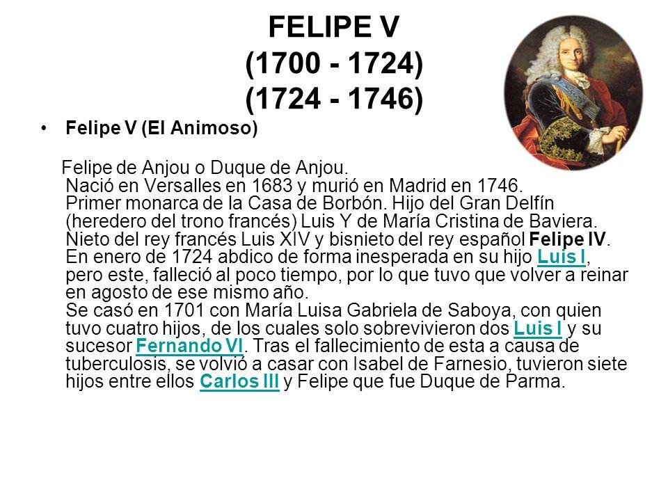 FELIPE V (1700 - 1724) (1724 - 1746) Felipe V (El Animoso)