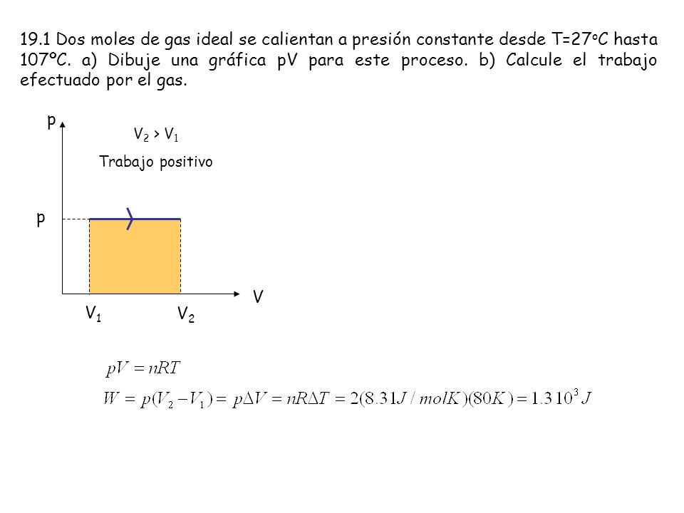 19.1 Dos moles de gas ideal se calientan a presión constante desde T=27oC hasta 107ºC. a) Dibuje una gráfica pV para este proceso. b) Calcule el trabajo efectuado por el gas.