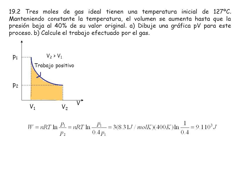 19. 2 Tres moles de gas ideal tienen una temperatura inicial de 127ºC