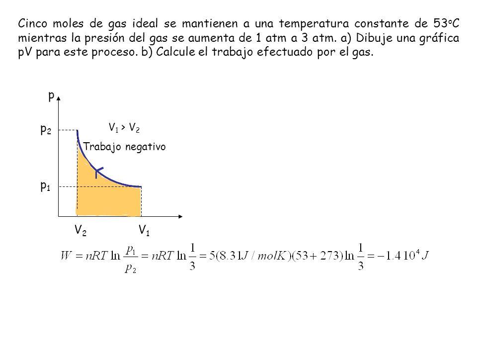 Cinco moles de gas ideal se mantienen a una temperatura constante de 53oC mientras la presión del gas se aumenta de 1 atm a 3 atm. a) Dibuje una gráfica pV para este proceso. b) Calcule el trabajo efectuado por el gas.