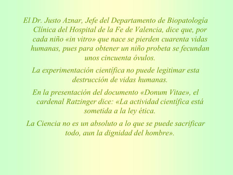 El Dr. Justo Aznar, Jefe del Departamento de Biopatología Clínica del Hospital de la Fe de Valencia, dice que, por cada niño «in vitro» que nace se pierden cuarenta vidas humanas, pues para obtener un niño probeta se fecundan unos cincuenta óvulos.