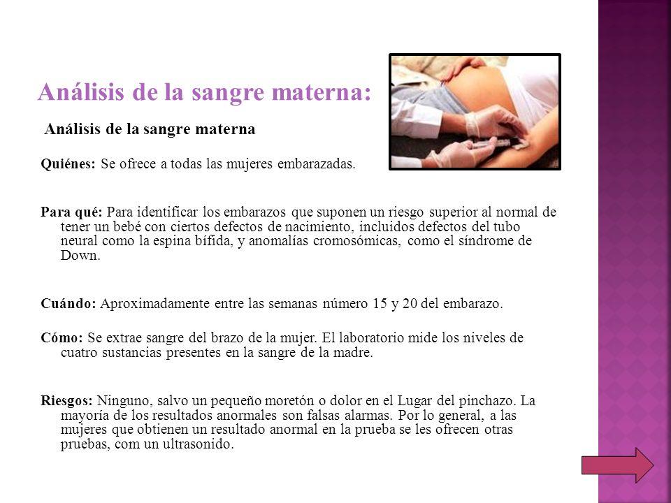 Análisis de la sangre materna:
