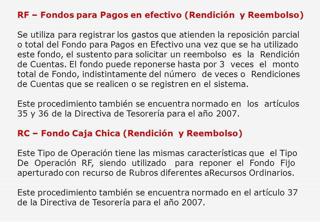 C – Fondo Fijo para Caja Chica (Apertura y/o Ampliaciones)