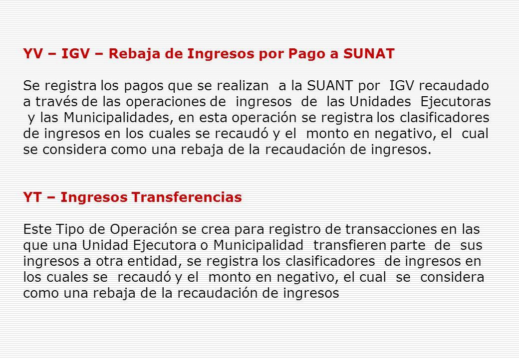 Ingresos Y – Operaciones Varias. Este Tipo de Operación permite registrar las Operaciones de Ingresos.