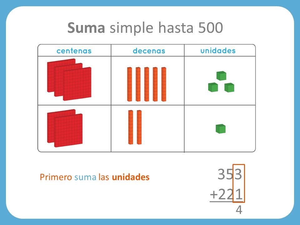 Suma simple hasta 500 353 +221 Primero suma las unidades 4