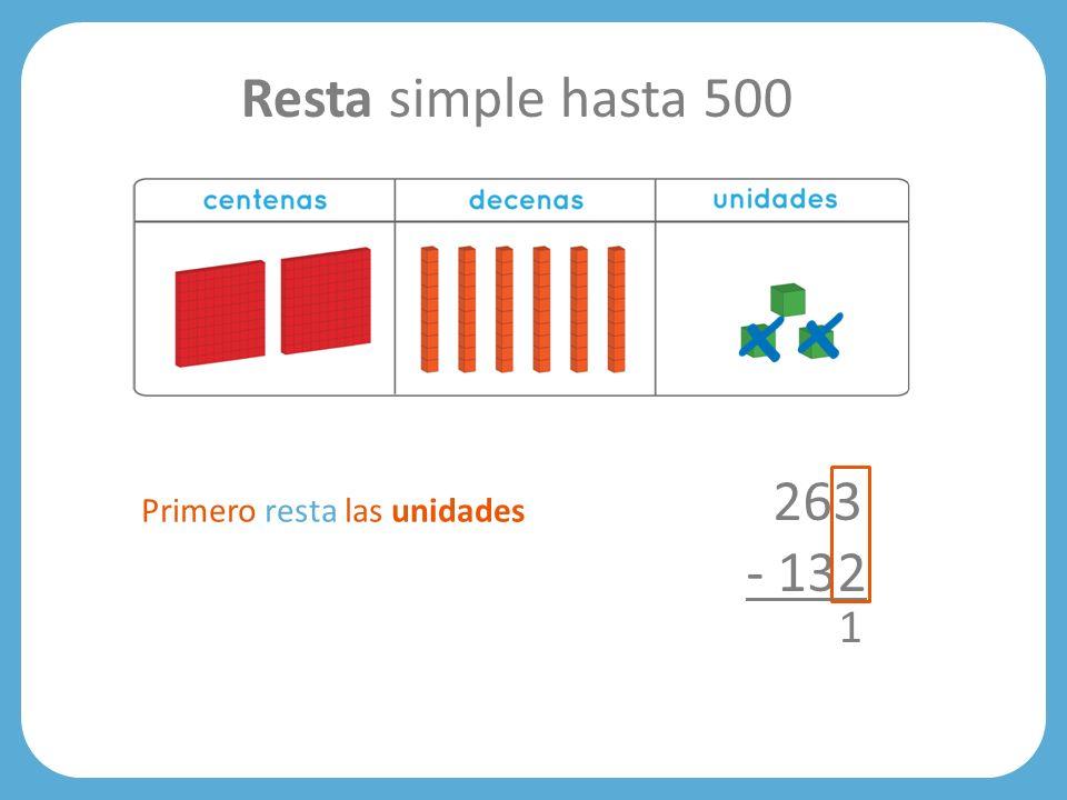 Resta simple hasta 500 263 - 132 Primero resta las unidades 1