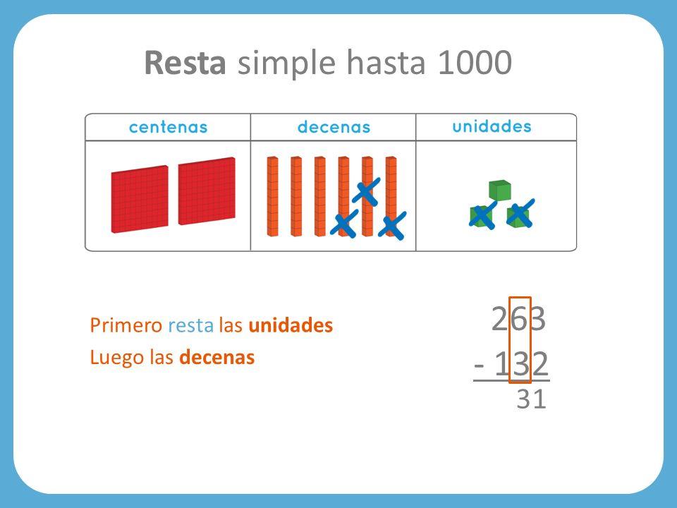 Resta simple hasta 1000 263 - 132 3 1 Primero resta las unidades