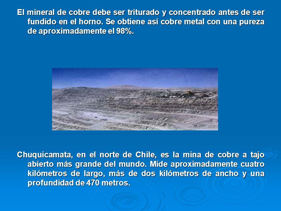 El mineral de cobre debe ser triturado y concentrado antes de ser fundido en el horno. Se obtiene así cobre metal con una pureza de aproximadamente el 98%.