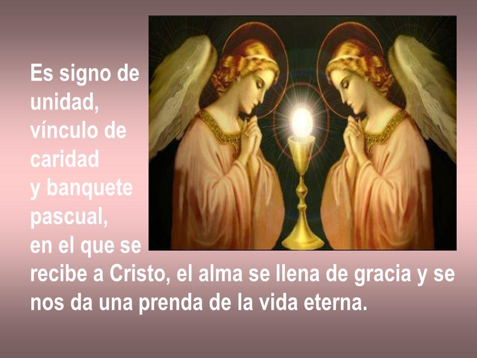 Es signo de unidad, vínculo de. caridad. y banquete. pascual, en el que se. recibe a Cristo, el alma se llena de gracia y se.