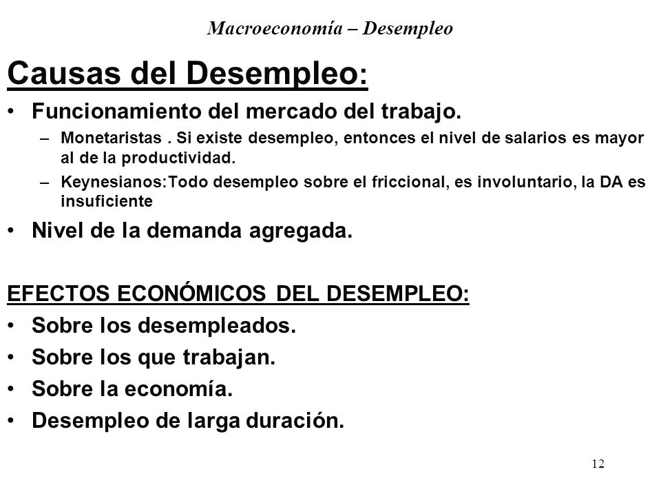 Macroeconomía – Desempleo