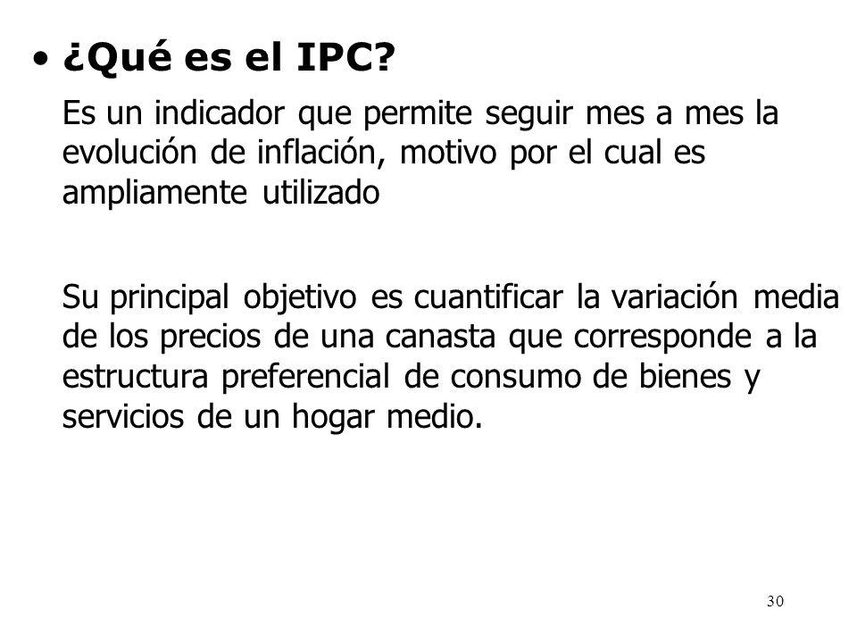 ¿Qué es el IPC Es un indicador que permite seguir mes a mes la evolución de inflación, motivo por el cual es ampliamente utilizado.