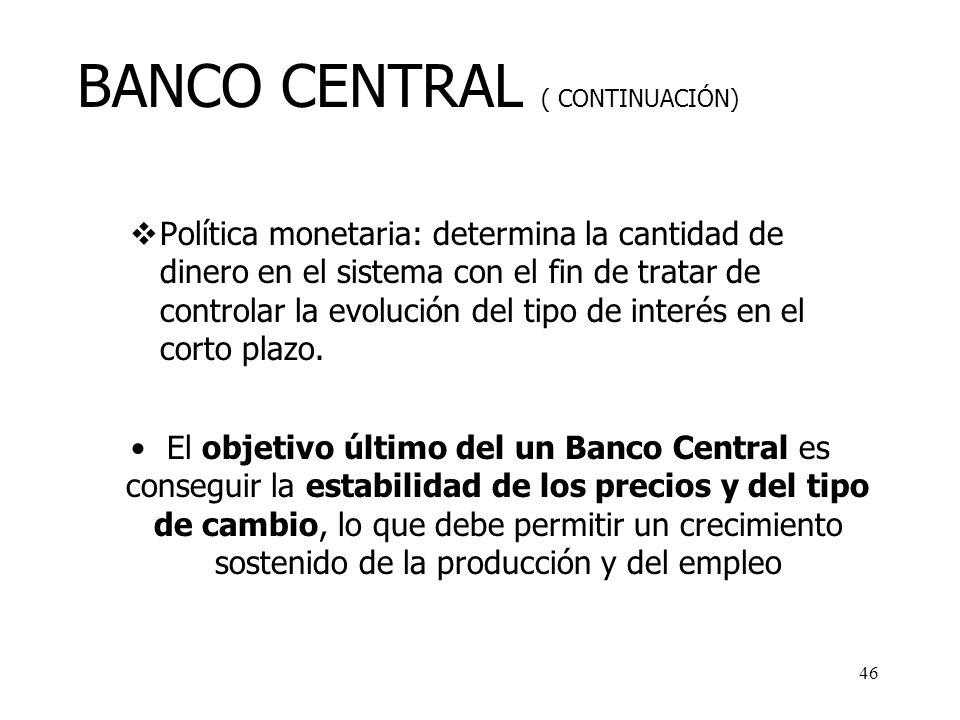 BANCO CENTRAL ( CONTINUACIÓN)