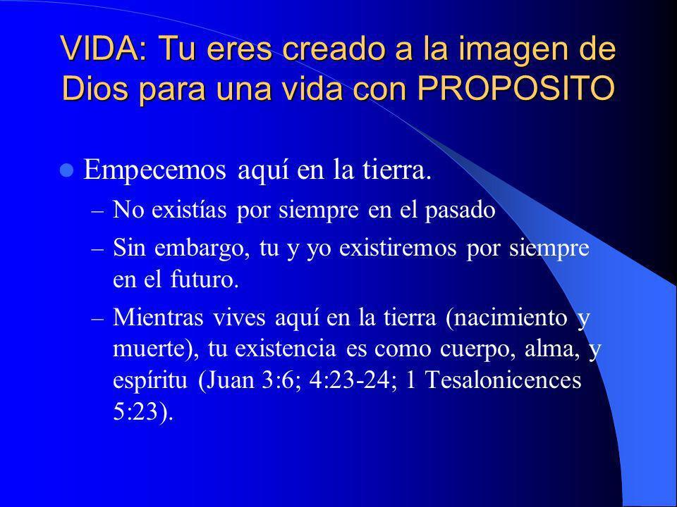 VIDA: Tu eres creado a la imagen de Dios para una vida con PROPOSITO