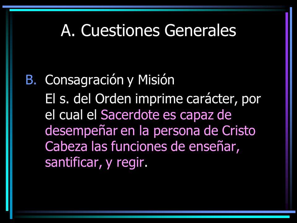 A. Cuestiones Generales