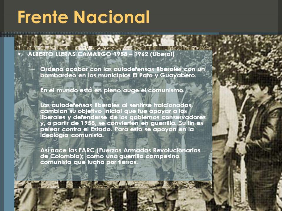 Frente Nacional ALBERTO LLERAS CAMARGO 1958 – 1962 (Liberal)