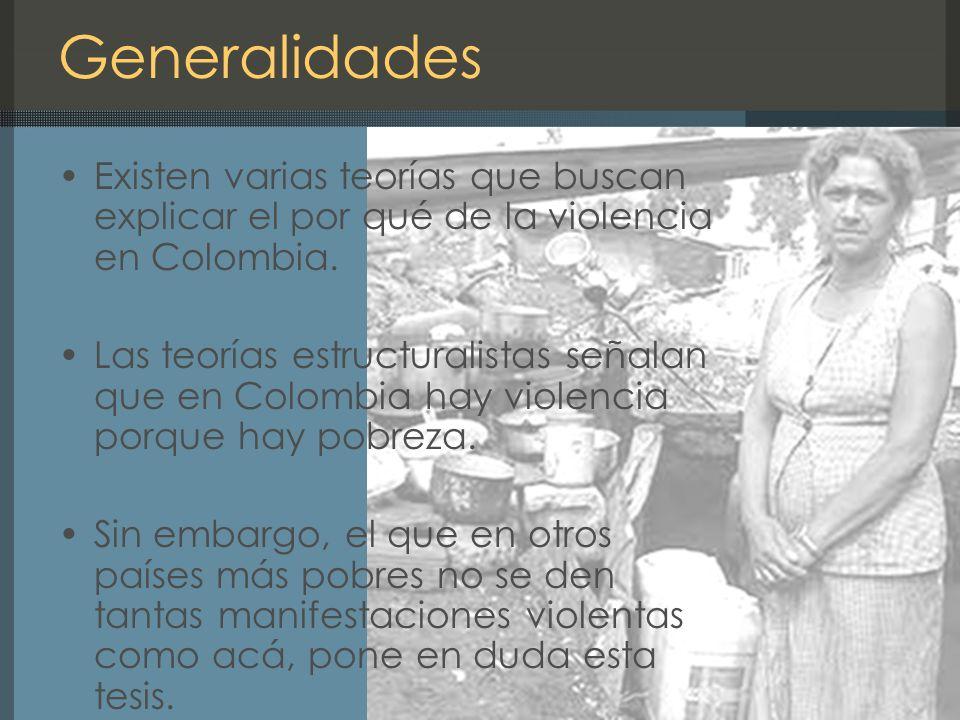 Generalidades Existen varias teorías que buscan explicar el por qué de la violencia en Colombia.
