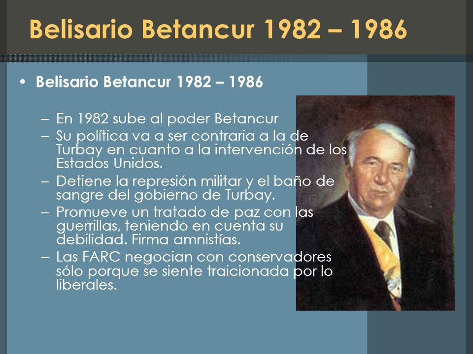 Belisario Betancur 1982 – 1986 Belisario Betancur 1982 – 1986