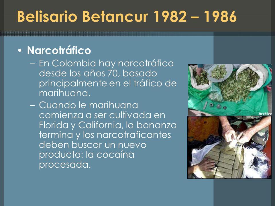 Belisario Betancur 1982 – 1986 Narcotráfico