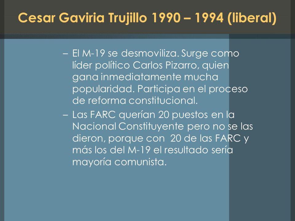 Cesar Gaviria Trujillo 1990 – 1994 (liberal)