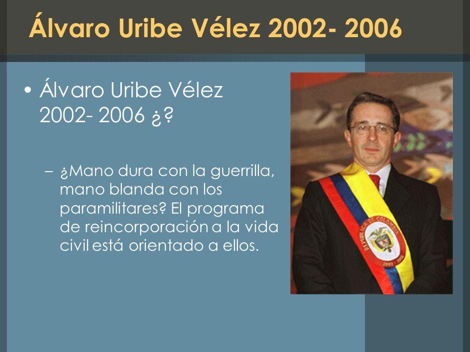 Álvaro Uribe Vélez 2002- 2006 Álvaro Uribe Vélez 2002- 2006 ¿