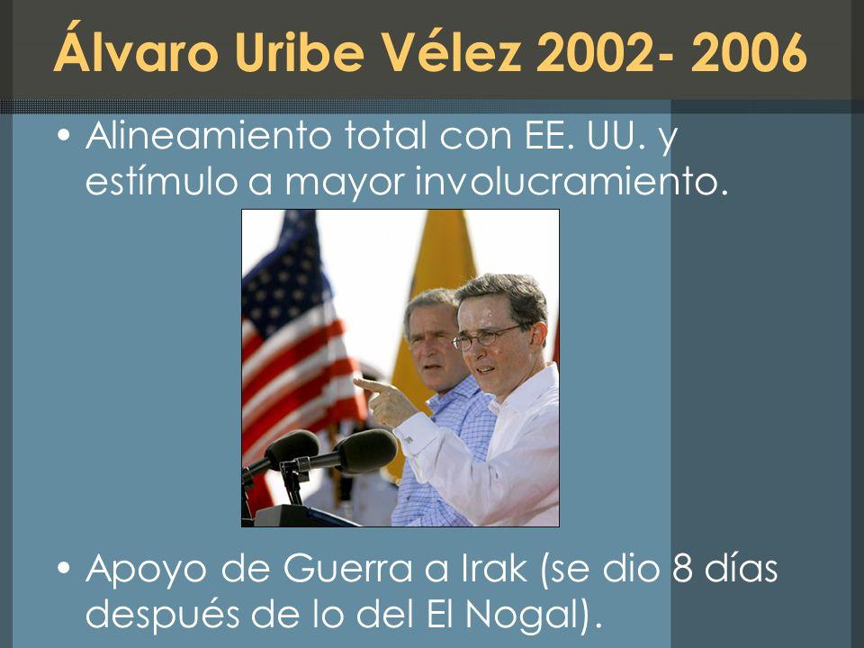 Álvaro Uribe Vélez 2002- 2006 Alineamiento total con EE. UU. y estímulo a mayor involucramiento.