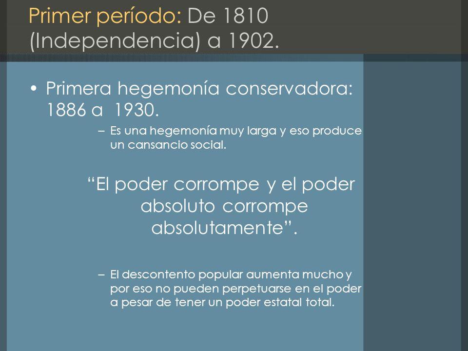 Primer período: De 1810 (Independencia) a 1902.