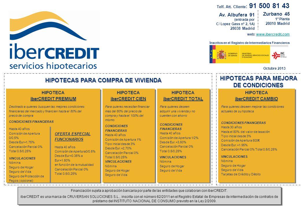 HIPOTECAS PARA MEJORA DE CONDICIONES HIPOTECAS PARA COMPRA DE VIVIENDA