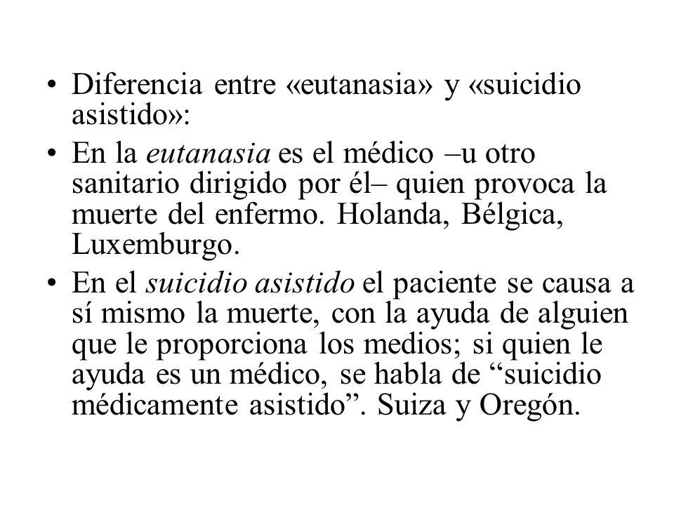 Diferencia entre «eutanasia» y «suicidio asistido»: