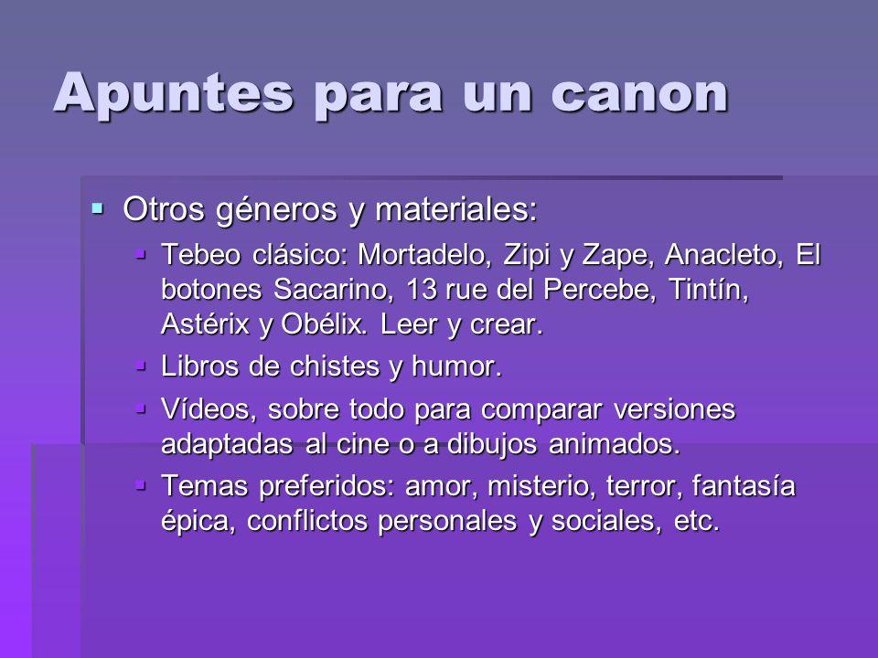 Apuntes para un canon Otros géneros y materiales: