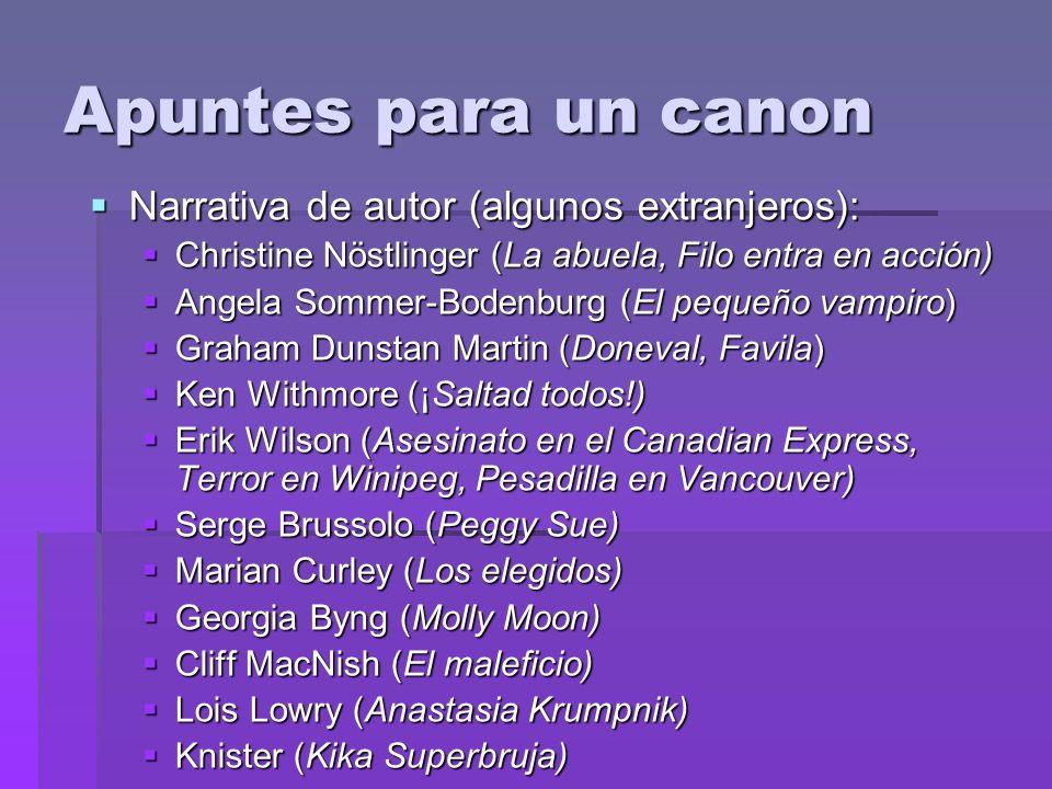 Apuntes para un canon Narrativa de autor (algunos extranjeros):