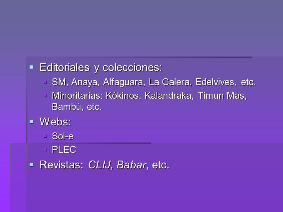 Editoriales y colecciones: