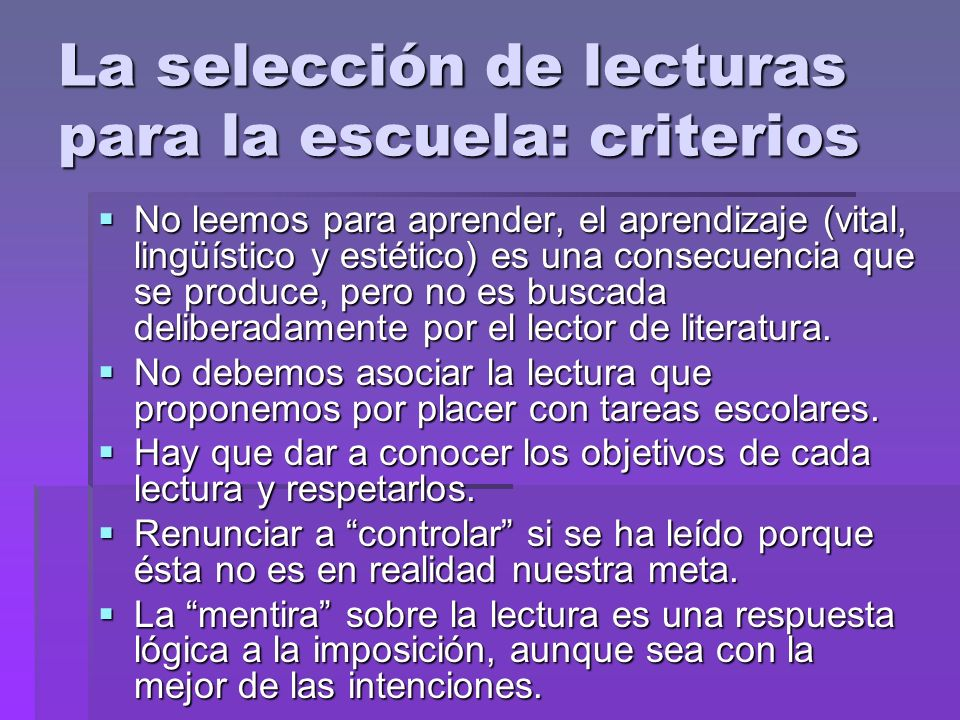 La selección de lecturas para la escuela: criterios