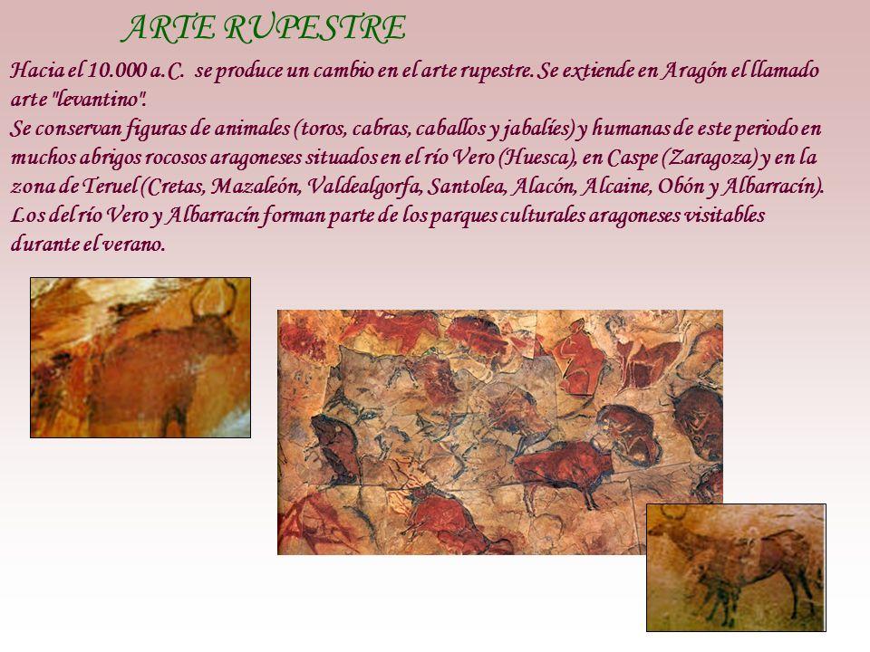 ARTE RUPESTRE Hacia el 10.000 a.C. se produce un cambio en el arte rupestre. Se extiende en Aragón el llamado arte levantino .