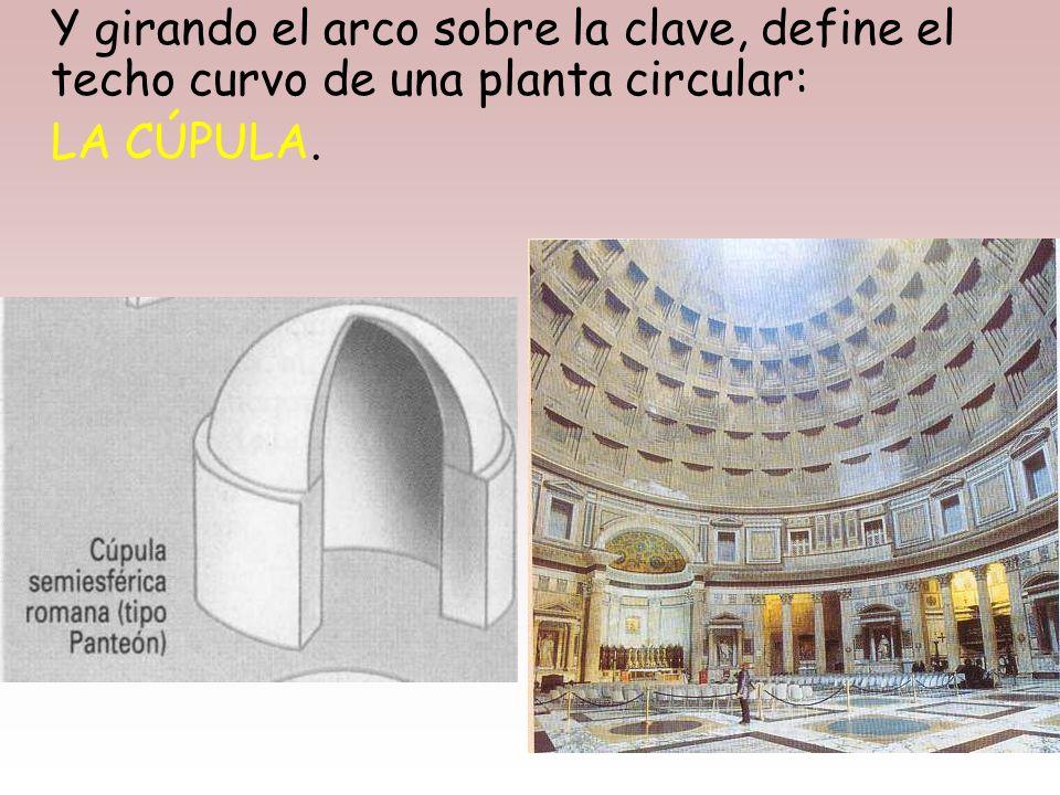 Y girando el arco sobre la clave, define el techo curvo de una planta circular: