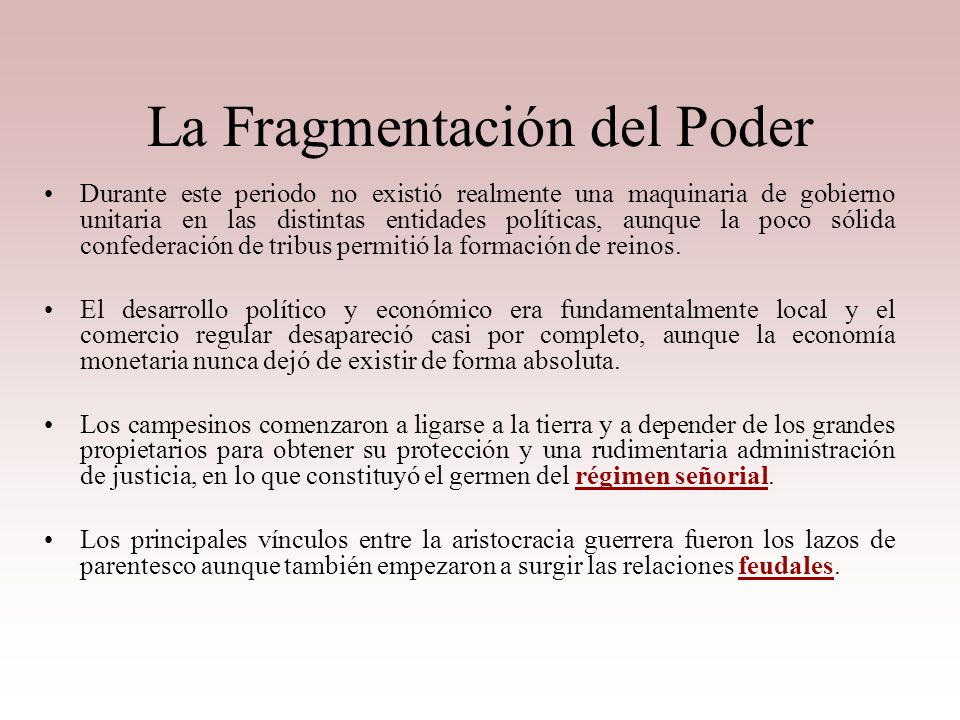 La Fragmentación del Poder
