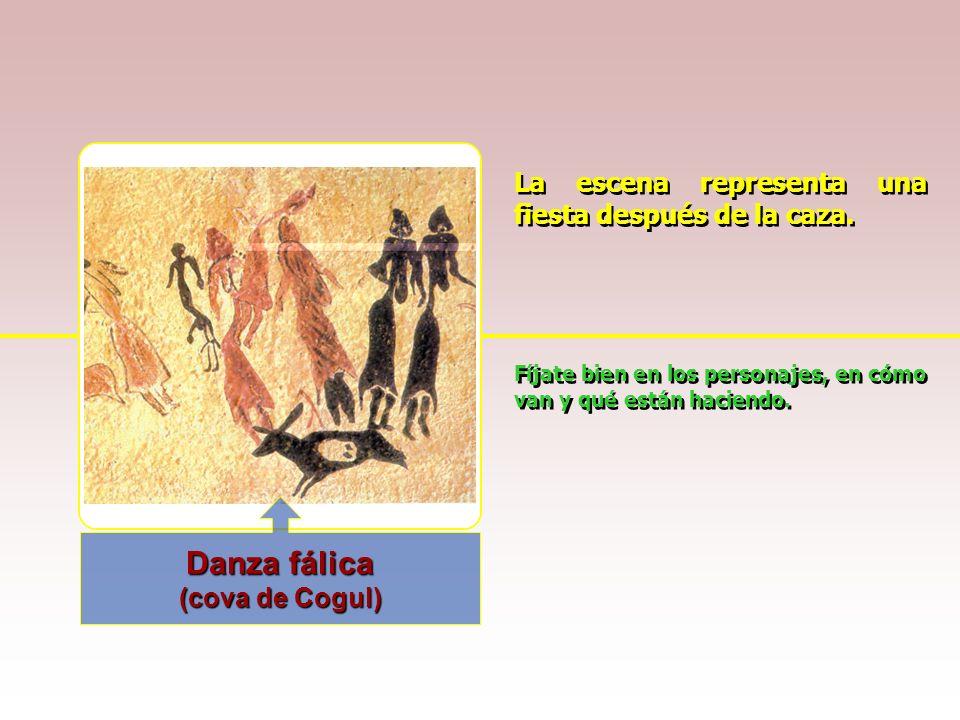 Danza fálica La escena representa una fiesta después de la caza.