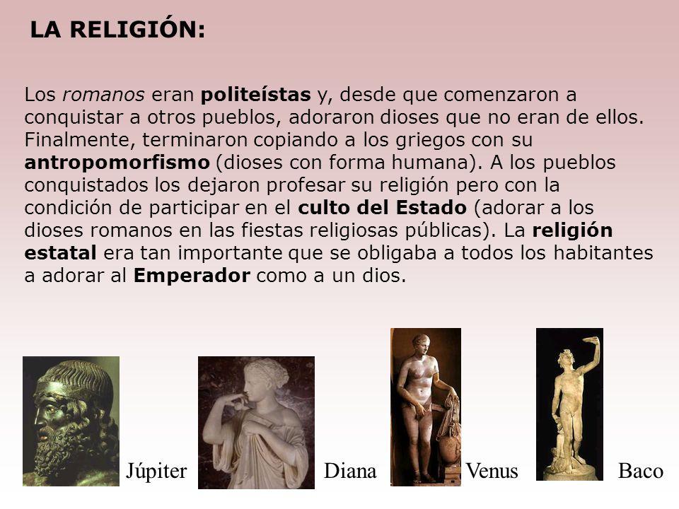 LA RELIGIÓN: Júpiter Diana Venus Baco