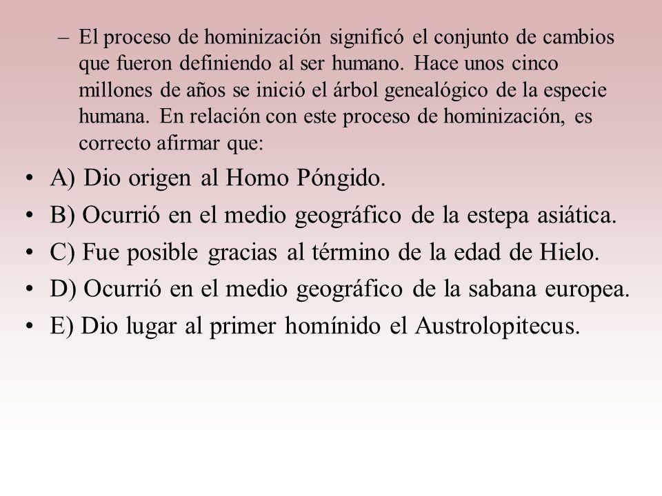 A) Dio origen al Homo Póngido.