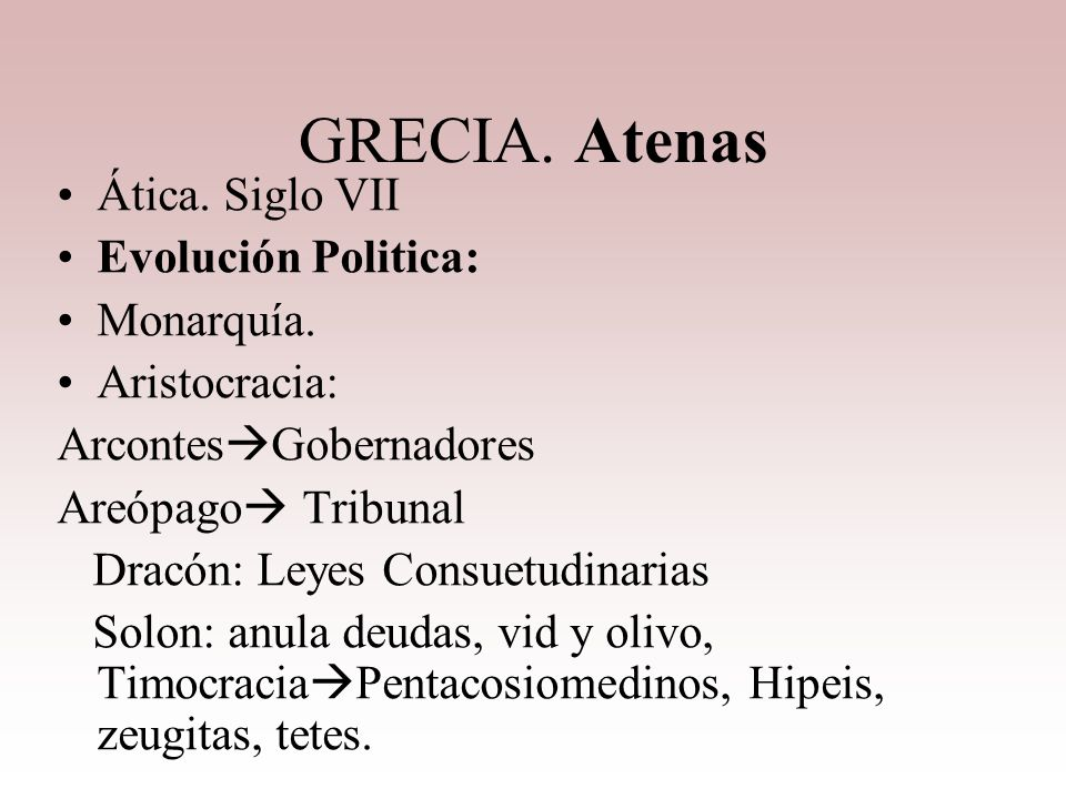GRECIA. Atenas Ática. Siglo VII Evolución Politica: Monarquía.