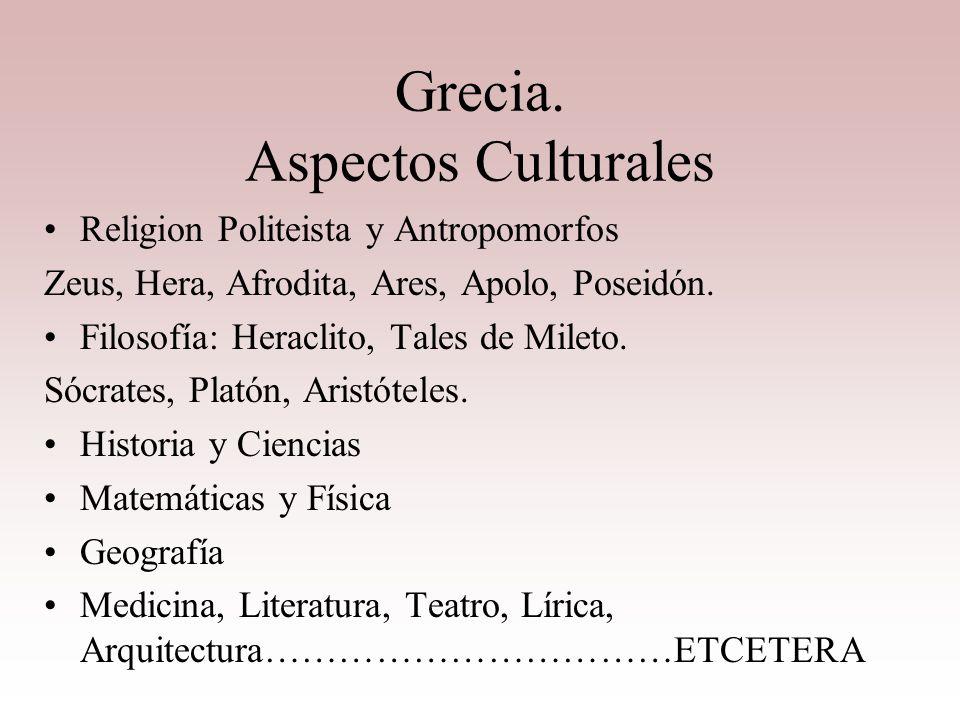 Grecia. Aspectos Culturales