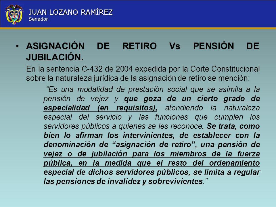 ASIGNACIÓN DE RETIRO Vs PENSIÓN DE JUBILACIÓN.