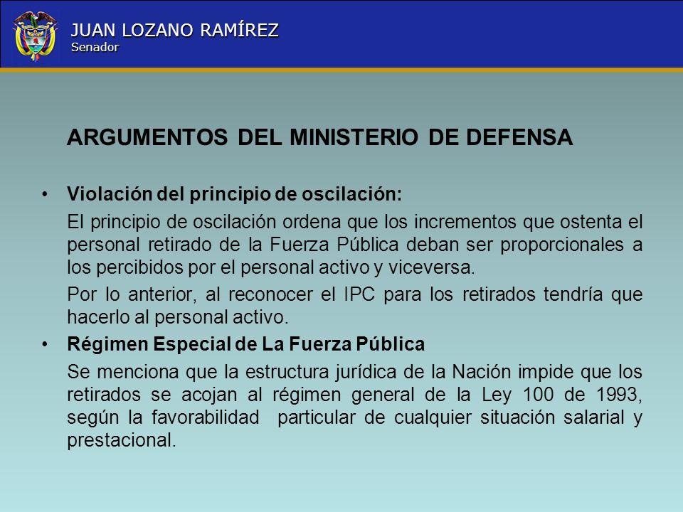 ARGUMENTOS DEL MINISTERIO DE DEFENSA