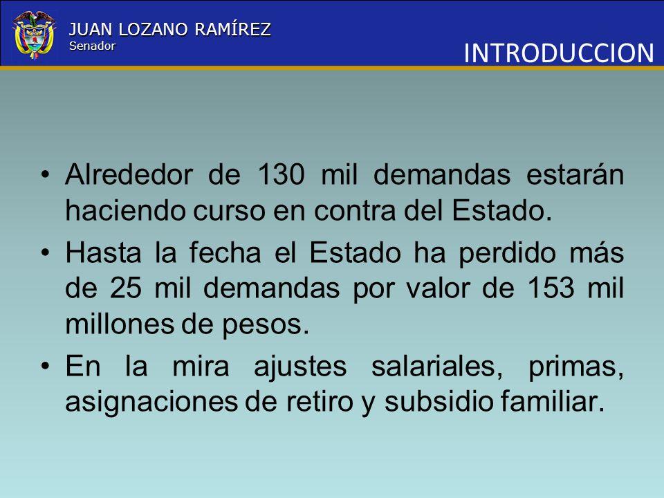 INTRODUCCIONAlrededor de 130 mil demandas estarán haciendo curso en contra del Estado.