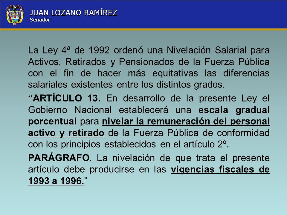 La Ley 4ª de 1992 ordenó una Nivelación Salarial para Activos, Retirados y Pensionados de la Fuerza Pública con el fin de hacer más equitativas las diferencias salariales existentes entre los distintos grados.