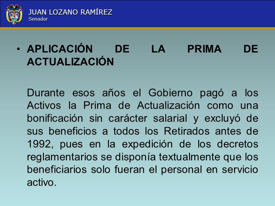 APLICACIÓN DE LA PRIMA DE ACTUALIZACIÓN